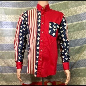 US Flag Long Sleeve Button Down Men's  Shirt